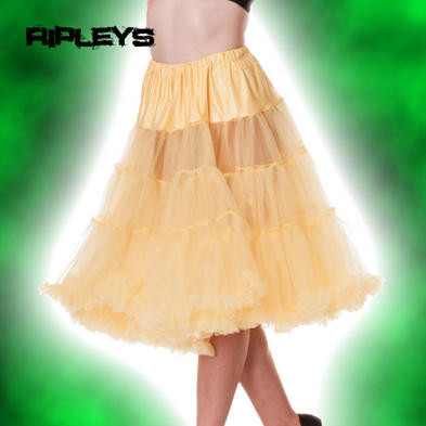 HELL BUNNY 50s Petticoat Skirt Sunshine YELLOW AO Long 25&quot; All Sizes